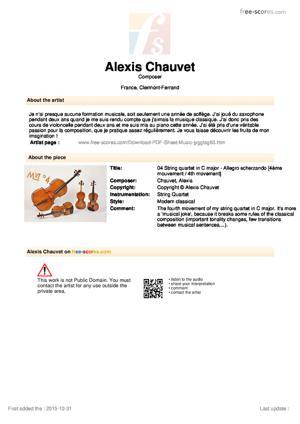 Sheet Music 04 String quartet in C major - Allegro scherzando