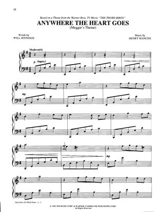 Sheet Music Henry Mancini - Anywhere The Heart Goes (Meggie's Theme)