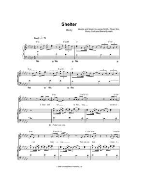 Sheet Music Birdy - Shelter