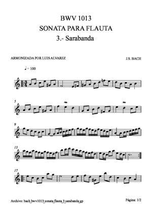 Sheet Music bach bwv1013 sonata flauta 3 sarabanda
