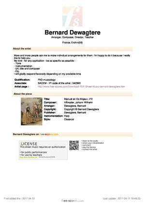 Sheet Music Menuet en Do Majeur, n°2