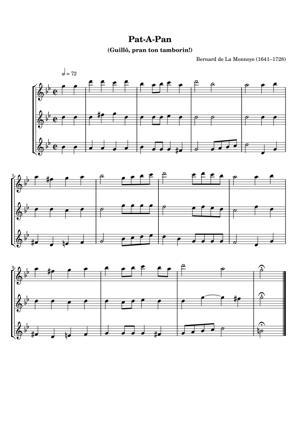 Sheet Music Bernard de La Monnoye (1641–1728) - Pat-A-Pan