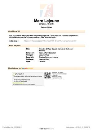 Sheet Music Minuet in G Major