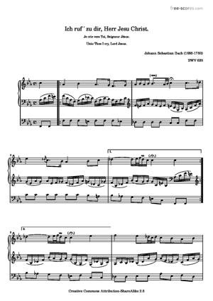 Sheet Music Unto Thee I cry, Lord Jesus.