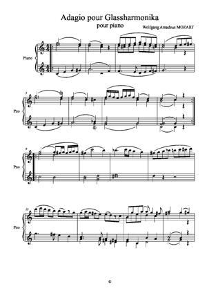 Sheet Music Adagio for Glassharmonika