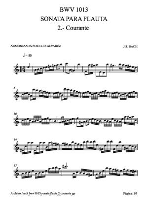 Sheet Music bach bwv1013 sonata flauta 2 courante