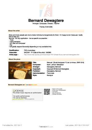 Sheet Music Menuet I