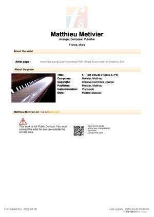 Sheet Music 5 - Petit prélude 2