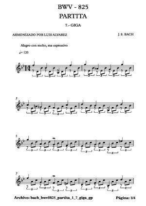 Sheet Music bach bwv0825 partita 1 7 giga