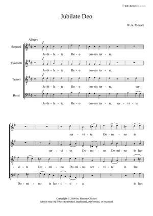 Sheet Music Jubilate Deo