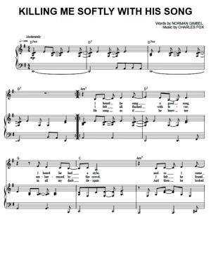 Sheet Music Roberta Flack - Killing Me Softly With His Song