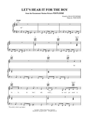 Sheet Music from Footloose - Let's Hear It for the Boy