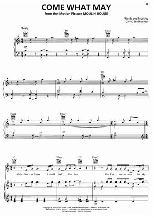 Sheet Music from Moulin Rouge - Come What May