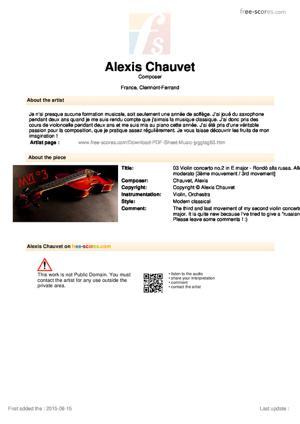Sheet Music 03 Violin concerto no.2 in E major - Rondò alla russa. Allegro moderato
