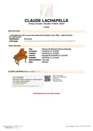 Sheet Music Parfums d'Andalousie