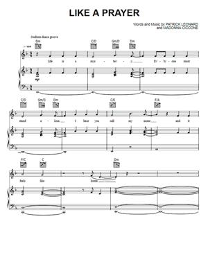 Sheet Music LMadonna - Like a Prayer