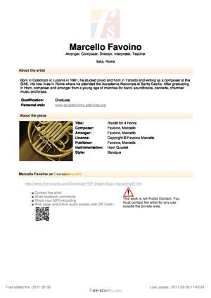 Sheet Music Rondò for 4 Horns