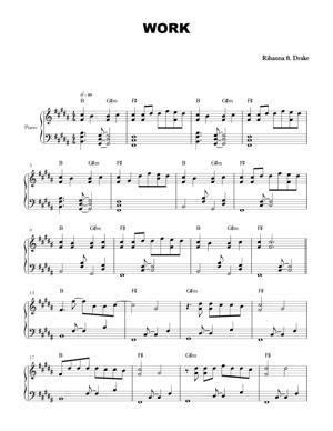 Sheet Music Rihanna ft Drake - Work