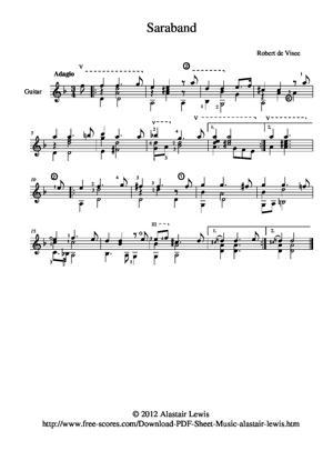 Sheet Music Saraband in  D minor