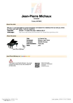Sheet Music Le Premier Pas