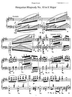 Sheet Music Hungarian Rhapsody No. 10 in E major