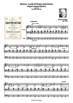 Sheet Music Hymn: Land of Hope and Glory. Pratical organ transcription for Church Service.