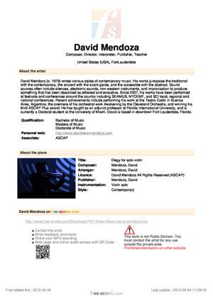 Sheet Music Elegy for solo violin