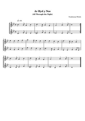 Sheet Music Traditional Welsh - Ar Hyd y Nos