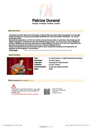 Sheet Music Un Ranch Dans La Vallée