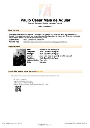 Sheet Music Souvenir of the Chopin