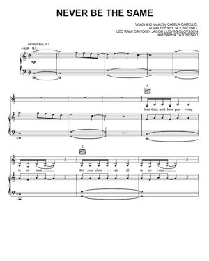Sheet Music Camila Cabello - Never Be The Same