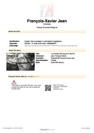 Sheet Music Le Pavillon d'Or