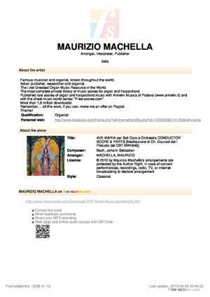 Sheet Music AVE MARIA per Soli, Coro, Organo o Piano, V.Cello Solo e Orchestra -CONDUCTOR SCORE & PARTS
