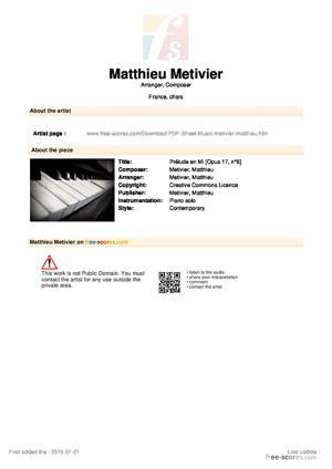 Sheet Music 06 - Prélude en Mi