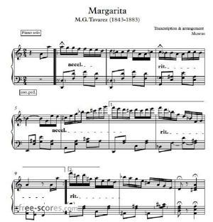 Sheet Music Latin piano themes of M.G. Tavarez