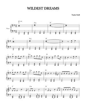 Sheet Music Taylor Swift - Wildest Dreams