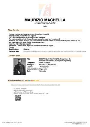 Sheet Music BELLA FIGLIA DELL'AMORE. Trascrizione da Concerto per Grande Organo
