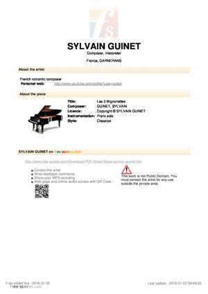 Sheet Music Les 3 Mignonettes