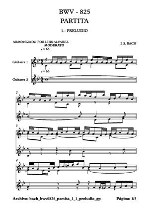 Sheet Music bach bwv0825 partita 1 1 preludio