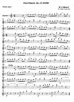 Sheet Music Divertimento KV 252-1V-Presto assai