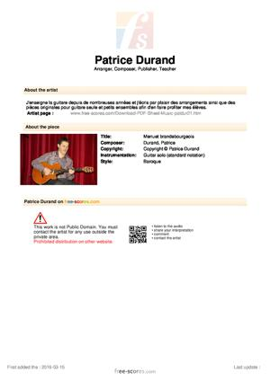 Sheet Music Menuet brandebourgeois