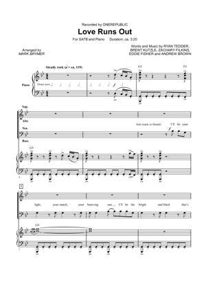 Sheet Music OneRepublic - Love Runs Out