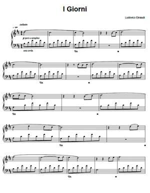 Sheet Music Ludovico Einaudi - I Giorni