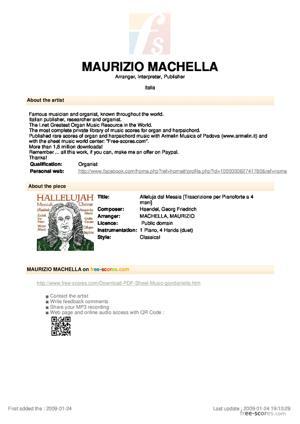 Sheet Music Alleluja dal Messia