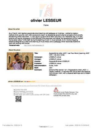 Sheet Music Apprendre le violon JAZZ : Les Yeux Noirs