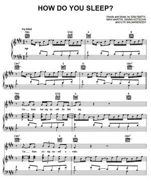 Sheet Music Sam Smith - How Do You Sleep
