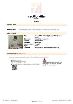 Sheet Music Cantata Nª 29 BWV 029