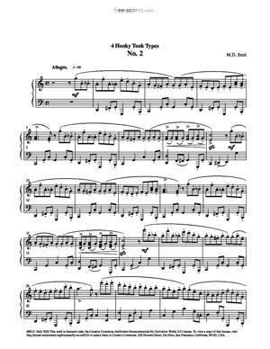 Sheet Music 4 Honky Tonk Types No. 2