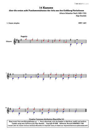 Sheet Music 14 Canons - 1