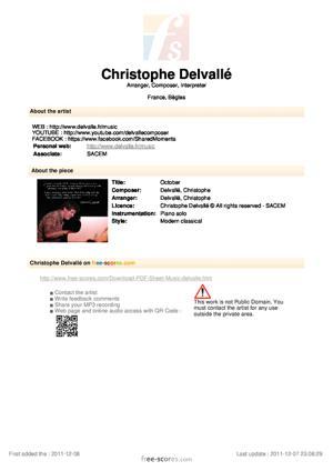 Sheet Music Christophe Delvallé - October